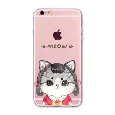 Cute Cat Case Covers For Apple iPhone 6 and 7 - Transparent Soft Silicone Cases