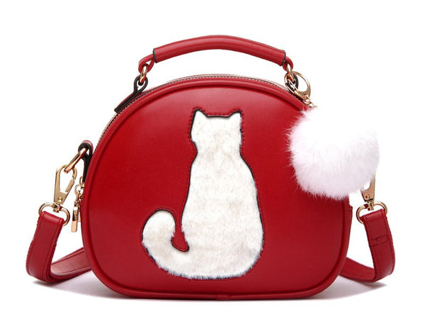 Cute Cat With Fur Ball Handbag/ Shoulder Bag
