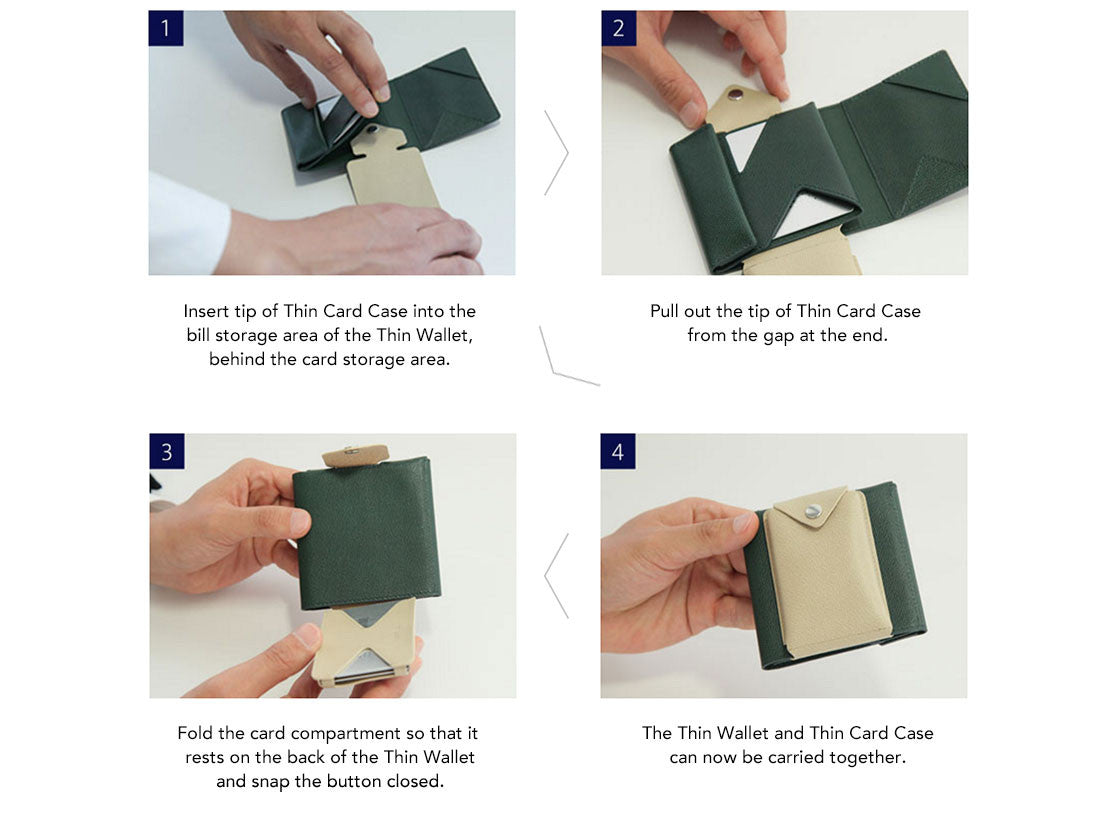 The Slim Card Case can be attached to the Slim Wallet