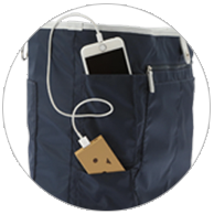 Smartphone and charger pockets