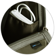 Side pocket perfect for mobile batteries