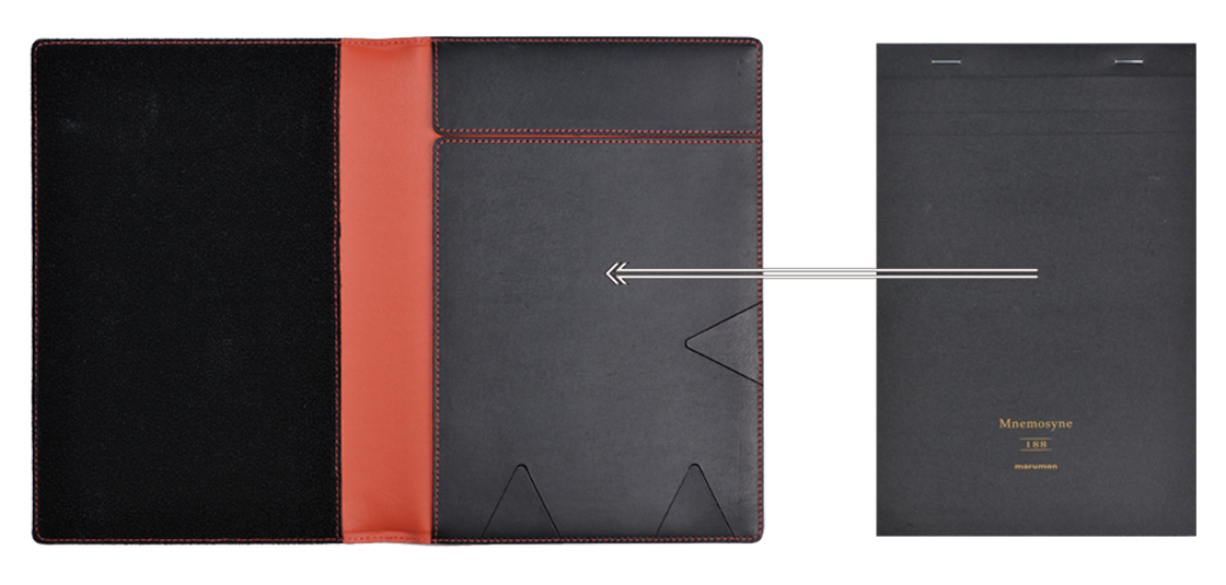 Holds a variety of A5 notebooks and notepads
