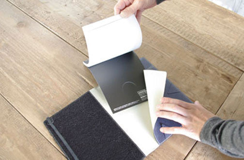 Vertical-opening notebooks fit as well