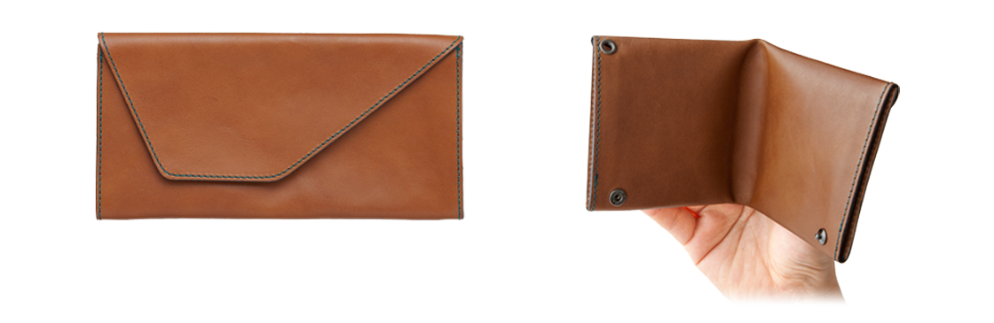 Fold it in two for the ease of use of a long wallet combined with the small size of a bifold wallet