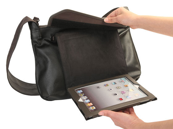 Your iPad attaches to the outside of the bag