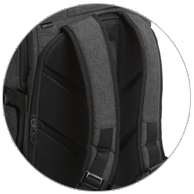 Curved shoulder straps like a sports backpack provide long term comfot