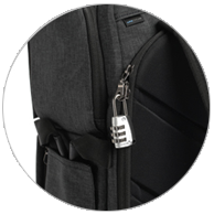 Double fasteners allow you to open from any point along zipper and can accommodate a lock