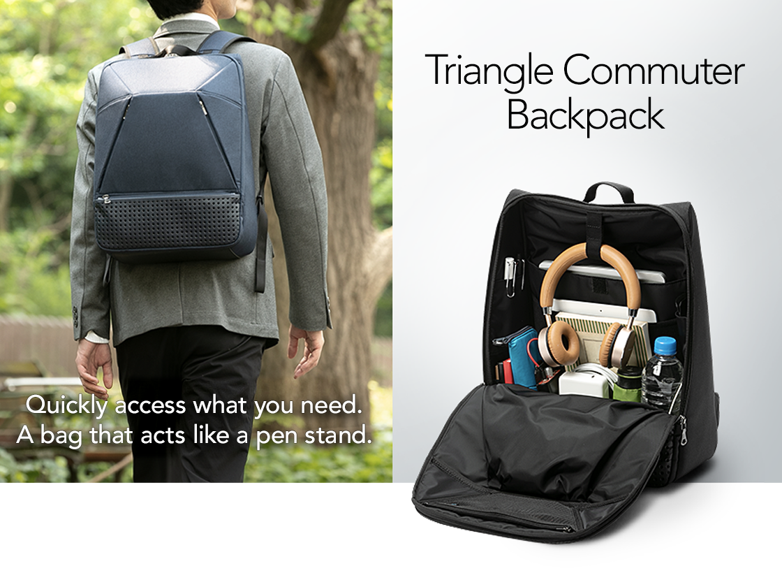 Triangle Commuter Backpack - Quickly access what you need. A bag that acts like a pen stand.