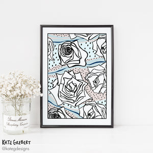 Botanical Art Print - Abstract Roses - Modern Wall Art - Kate Grebert Designs