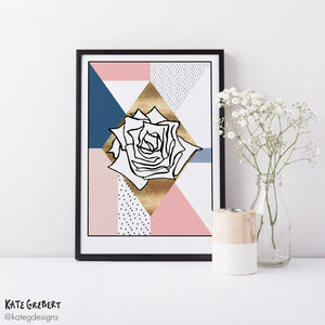 Wall Art - Abstract Botanical Art Print - Rose