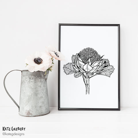 Wall Art - Botanical Art Print - Waratah