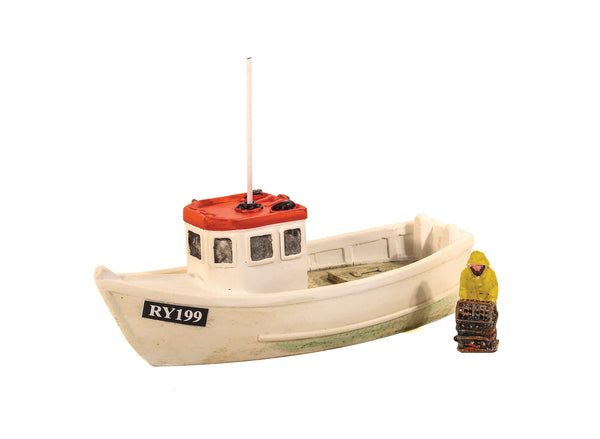 Lobster Boat with Fisherman and Red Roof