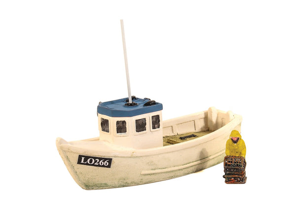 Lobster Boat with Fisherman and Blue Roof