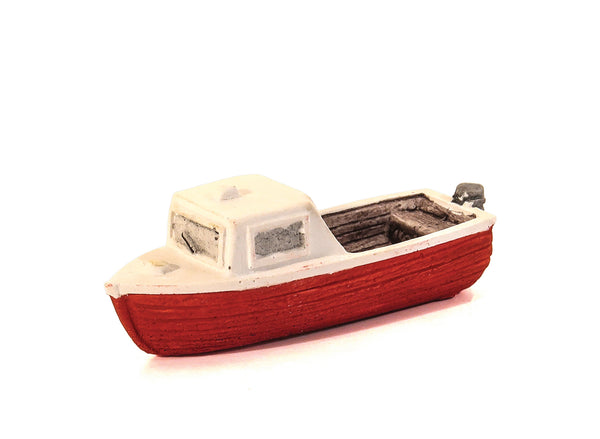Red Motor Boat with small cabin