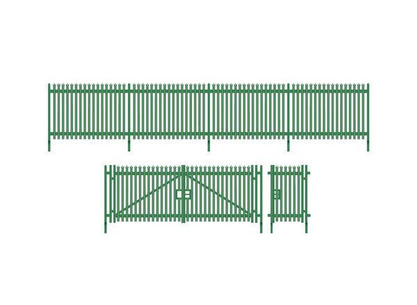 Modern Palisade Fencing with Gates