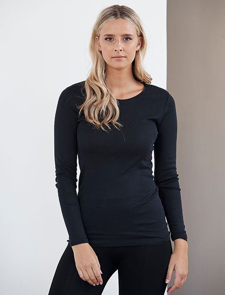 Cotton Seamless Long Sleeve Top Black