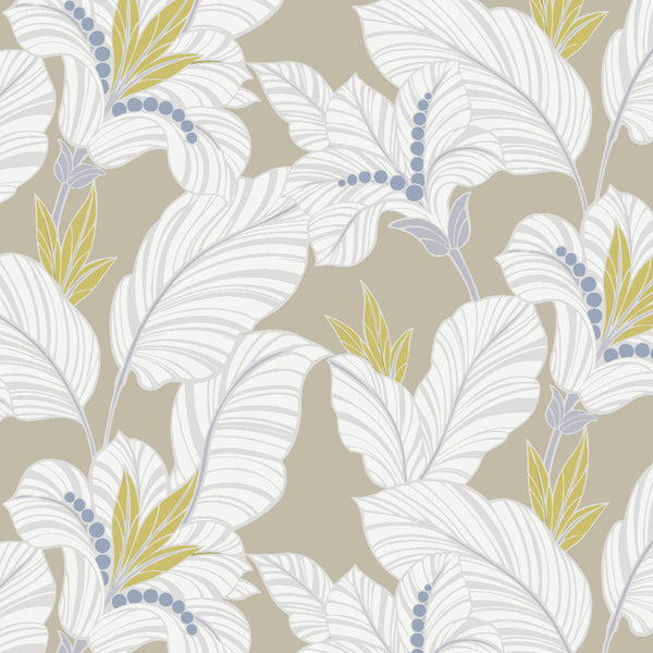 Amazon-White Water Lily Drapery & Bedding Fabric