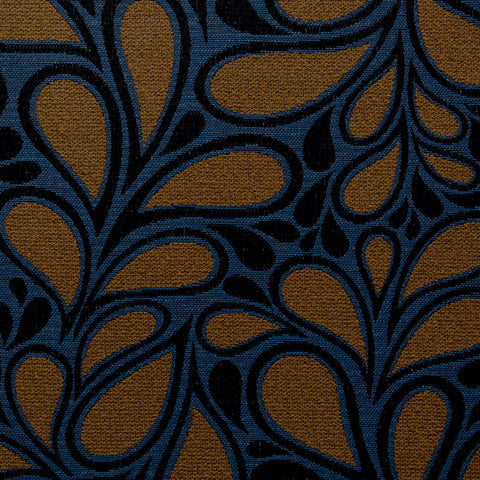 Jazz Age-Blue Amber Upholstery Fabric