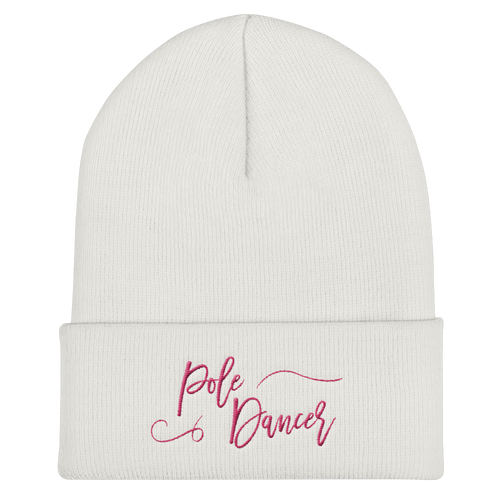 Pole Dancer Pride Cuffed Beanie in Pink Embroidery