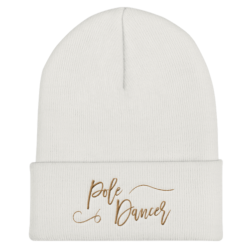 Pole Dancer Pride Cuffed Beanie in Gold Embroidery
