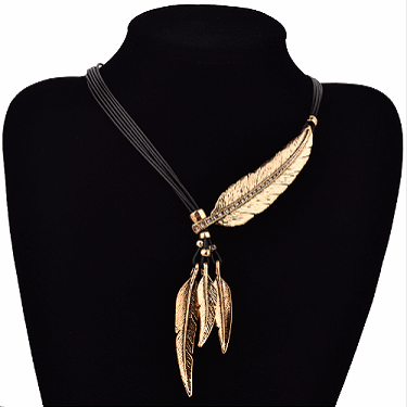 Bohemian Style Feather Pendant Necklace