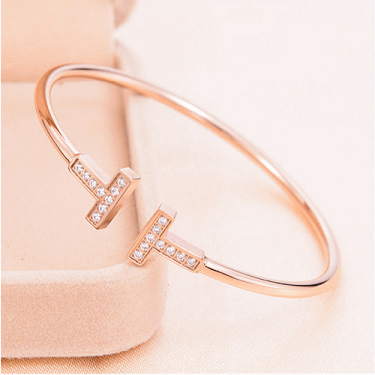 Rose Gold Plated Pave Bar Cuff