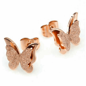 18K Rose Gold Plated Double Frosted Butterfly Earrings