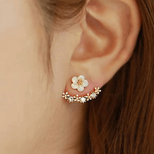 14K Rose Gold Plated Floral Earrings