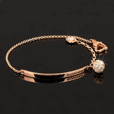 "18K Rose Gold Plated ""happiness"" Bracelet"