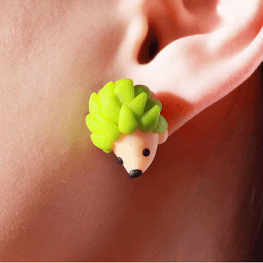 Adorable Colored Hedgehog Earrings