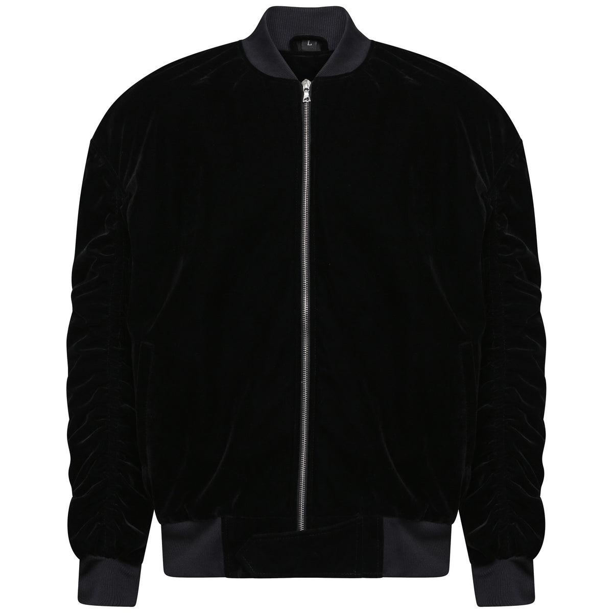 Velvet Bomber Jacket - Black
