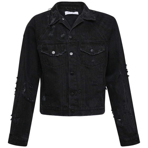 Stone Wash Destroyed Denim Jacket - Black