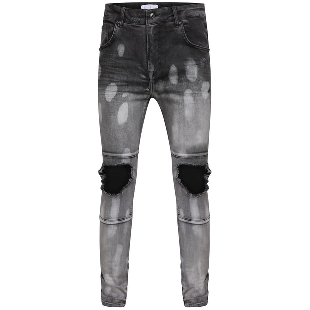 Bleach Wash Destroyed Denim - Black