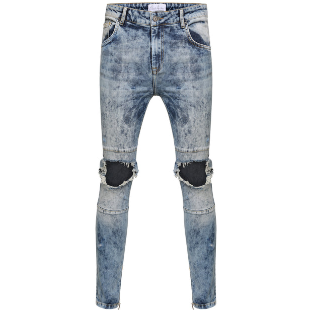 Bleach Wash Destroyed Denim - Blue