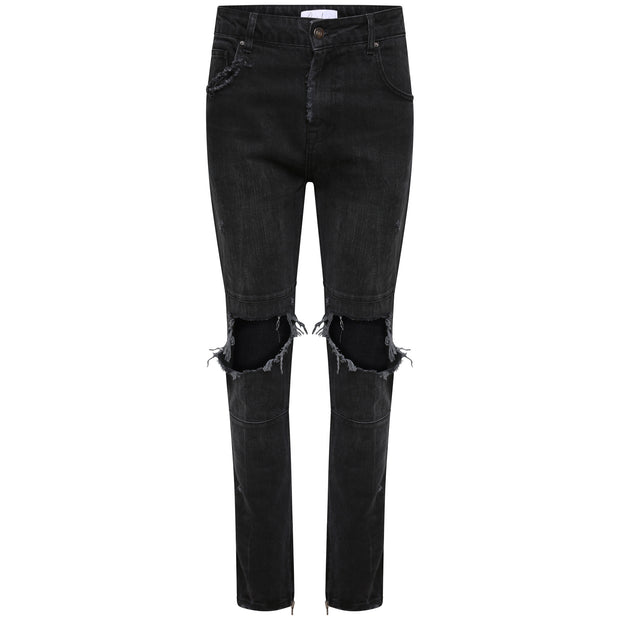 Stone Wash Destroyed Denim - Black