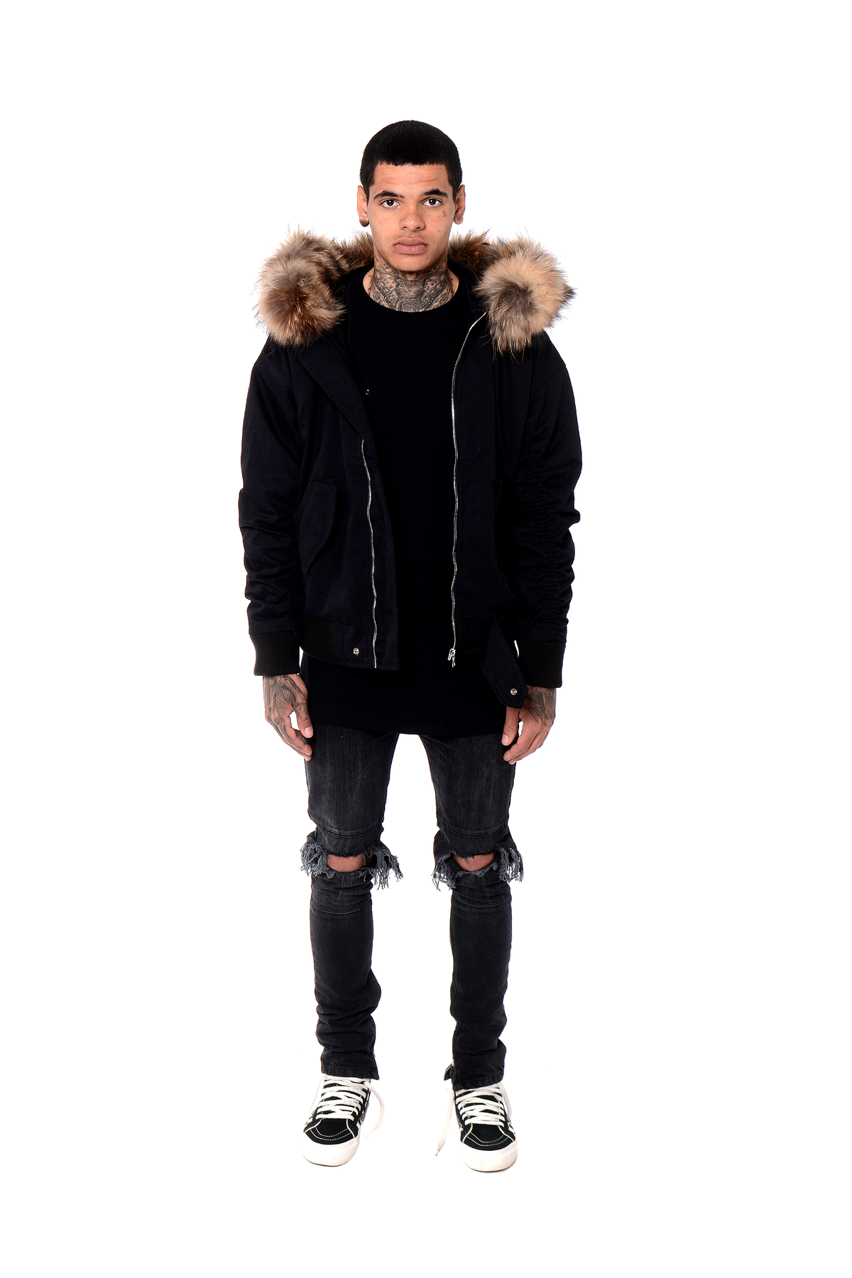 Fur Trim Bomber Jacket - Black