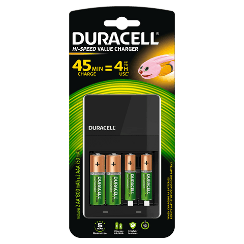Duracell 4 Hour AA & AAA Charger | CEF14 (Including Batteries) - Battery Warehouse UK | Free UK Delivery on all Orders