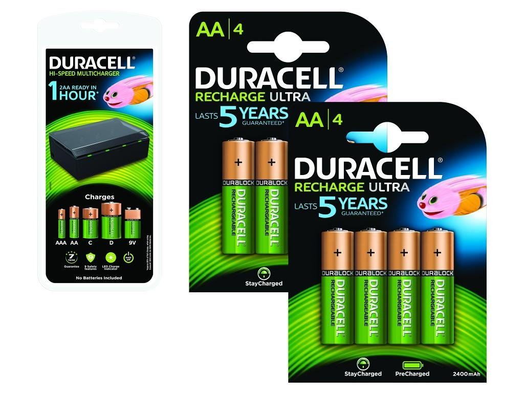 Duracell Multi-Battery Charger & 8 x AA 2500mAh Rechargeable Batteries
