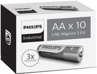 Bulk Industrial by Philips AA 1.5v Alkaline Battery - Pack of 10 | LR6 MN1500 - Battery Warehouse UK | Free UK Delivery on all Orders