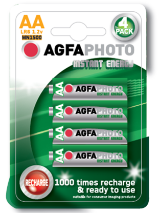 Agfa Photo AA 1300mAh Ready To Use Rechargeable Battery - Pack of 4 - Battery Warehouse UK | Free UK Delivery on all Orders