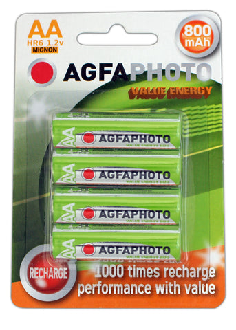 Agfa Photo AA 800mAh Rechargeable Battery - Pack of 4