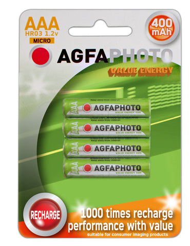 Agfa Photo AAA 400mAh Rechargeable Battery - Pack of 4 - Battery Warehouse UK | Free UK Delivery on all Orders