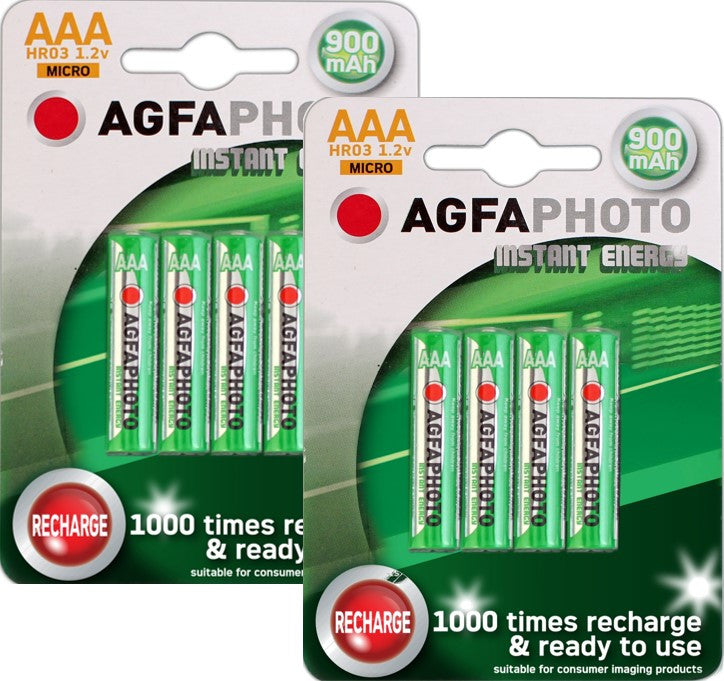 Agfa Photo AAA 900mAh Ready To Use Rechargeable Battery - Pack of 8 - Battery Warehouse UK | Free UK Delivery on all Orders