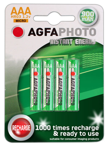 Agfa Photo AAA 900mAh Ready To Use Rechargeable Battery - Pack of 4 - Battery Warehouse UK | Free UK Delivery on all Orders