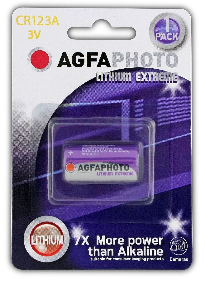 Agfa Photo Lithium Photo CR123A 3v Battery - Pack of 1