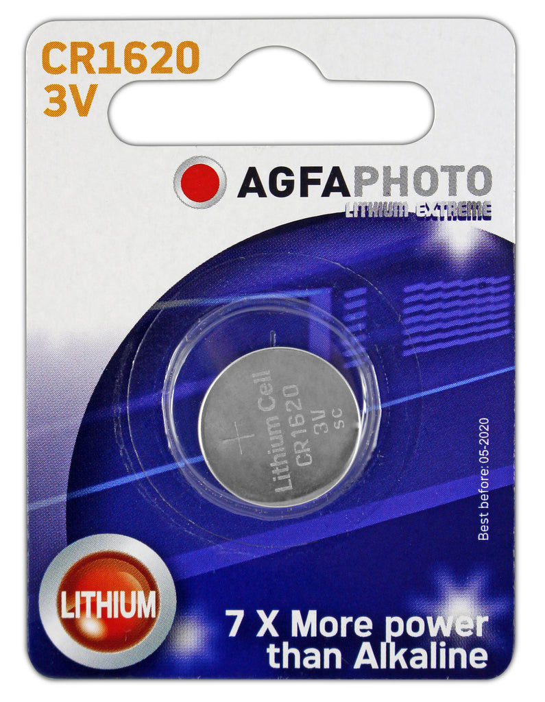 Agfa Photo Lithium Coin CR1620 3v Battery - Pack of 1 - Battery Warehouse UK | Free UK Delivery on all Orders