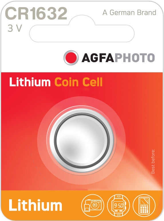 Agfa Photo Lithium Coin CR1632 3v Battery - Pack of 1 - Buy Battery Warehouse UK | Free UK Delivery on all Orders