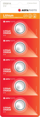 Agfa Photo Lithium Coin CR2016 3v Battery - Pack of 5