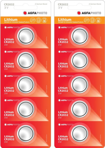 Agfa Photo Lithium Coin CR2032 3v Battery - Pack of 10