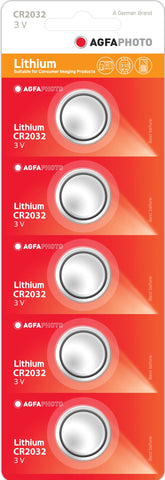 Agfa Photo Lithium Coin CR2032 3v Battery - Pack of 5